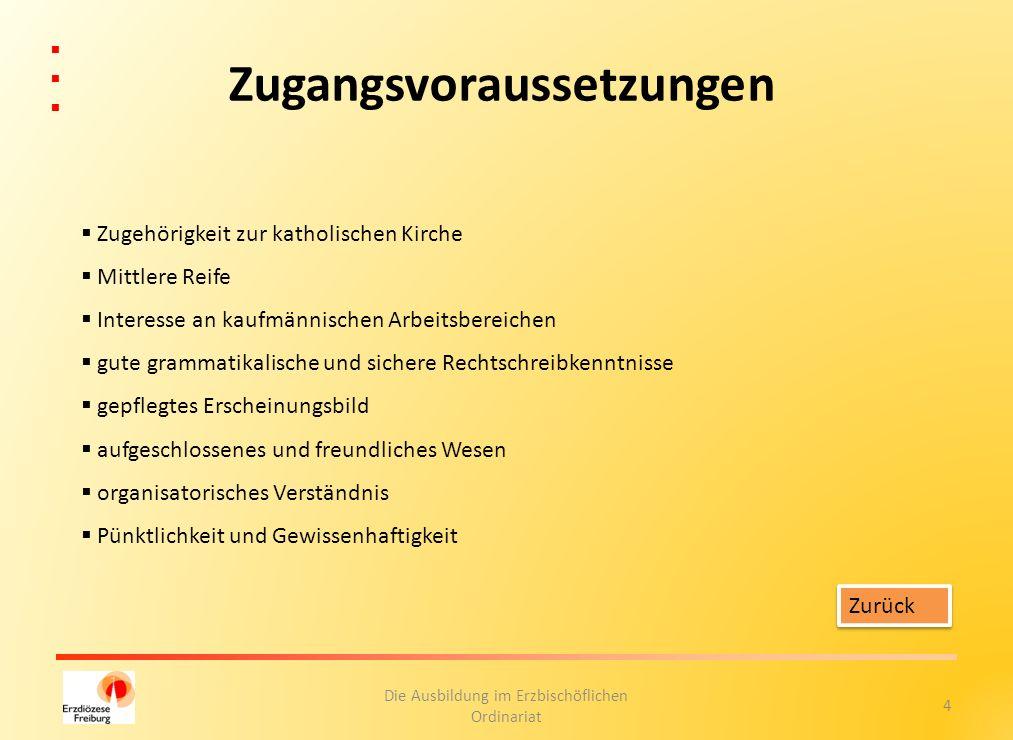 5 Die Ausbildung im Erzbischöflichen Ordinariat Ausbildungsort Erzbischöfliches Ordinariat Schoferstraße 2 79098 Freiburg und weitere kirchliche Dienststellen in Freiburg Zurück