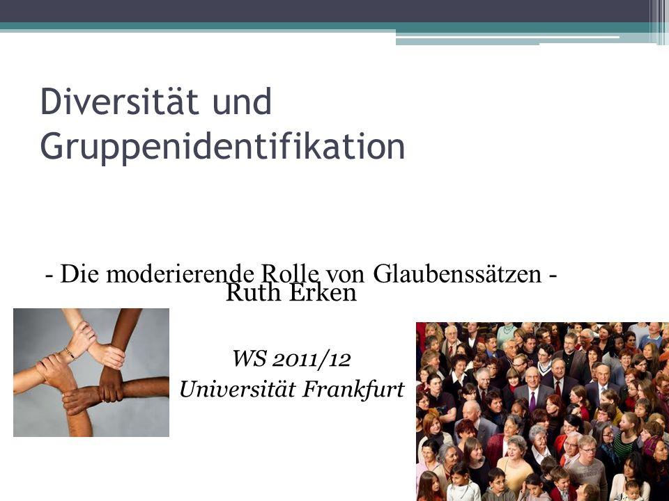 Diversität und Gruppenidentifikation Ruth Erken WS 2011/12 Universität Frankfurt - Die moderierende Rolle von Glaubenssätzen -