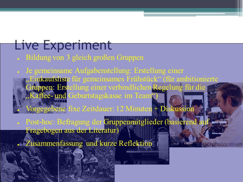 Live Experiment Bildung von 3 gleich großen Gruppen Je gemeinsame Aufgabenstellung: Erstellung einer Einkaufsliste für gemeinsames Frühstück (für ambi