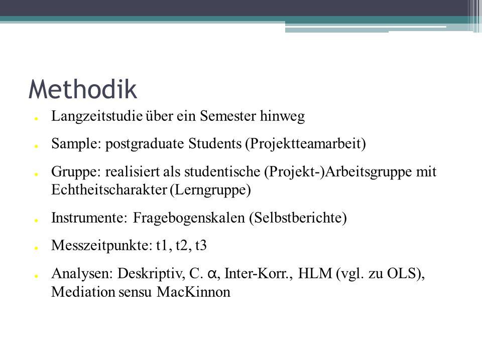 Methodik Langzeitstudie über ein Semester hinweg Sample: postgraduate Students (Projektteamarbeit) Gruppe: realisiert als studentische (Projekt-)Arbei