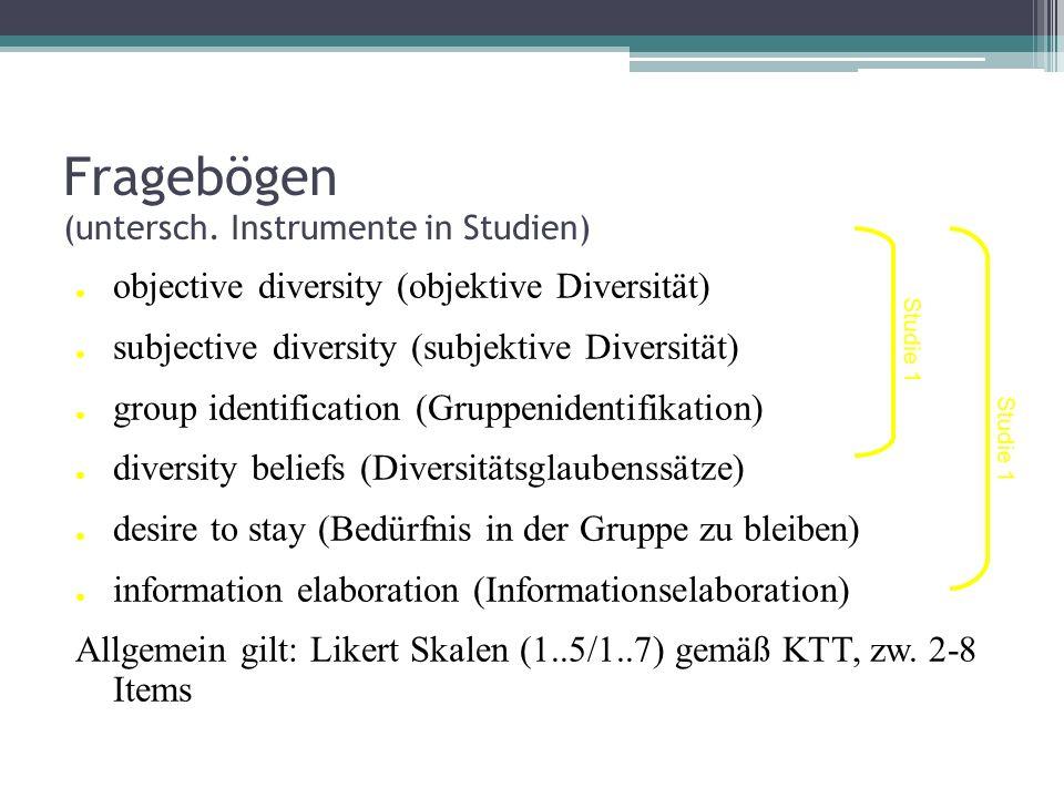 Fragebögen (untersch. Instrumente in Studien) objective diversity (objektive Diversität) subjective diversity (subjektive Diversität) group identifica