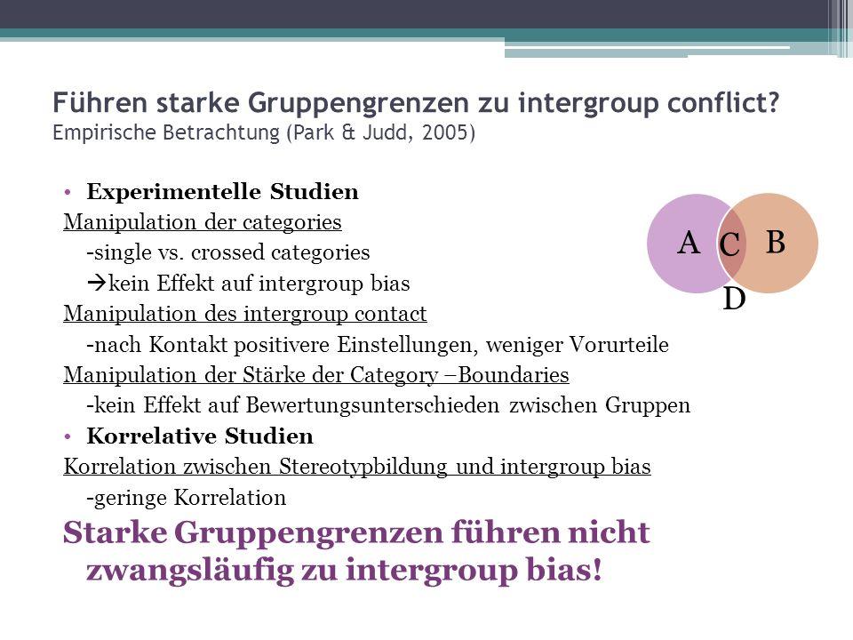 Führen starke Gruppengrenzen zu intergroup conflict? Empirische Betrachtung (Park & Judd, 2005) Experimentelle Studien Manipulation der categories -si