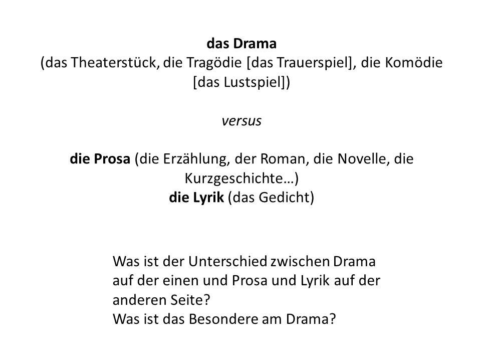 das Drama (das Theaterstück, die Tragödie [das Trauerspiel], die Komödie [das Lustspiel]) versus die Prosa (die Erzählung, der Roman, die Novelle, die