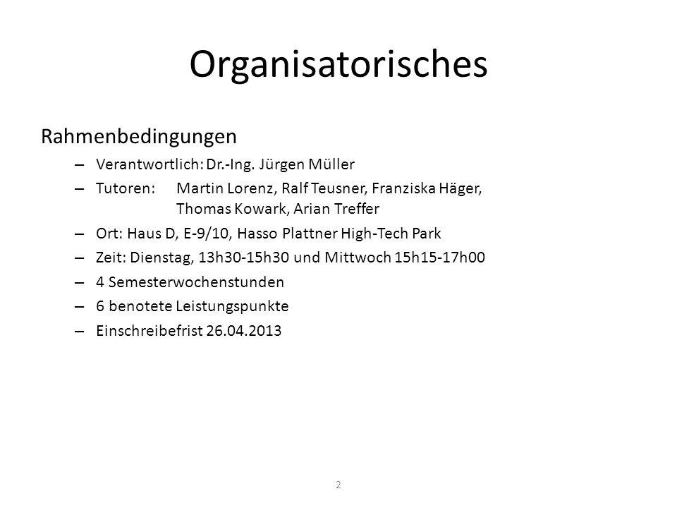 Organisatorisches Rahmenbedingungen – Verantwortlich: Dr.-Ing. Jürgen Müller – Tutoren: Martin Lorenz, Ralf Teusner, Franziska Häger, Thomas Kowark, A