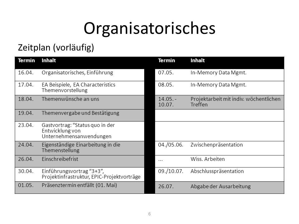 Organisatorisches Zeitplan (vorläufig) 6 TerminInhaltTerminInhalt 16.04.Organisatorisches, Einführung07.05.In-Memory Data Mgmt. 17.04. EA Beispiele, E