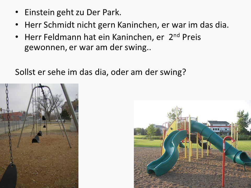 Einstein geht zu Der Park. Herr Schmidt nicht gern Kaninchen, er war im das dia. Herr Feldmann hat ein Kaninchen, er 2 nd Preis gewonnen, er war am de