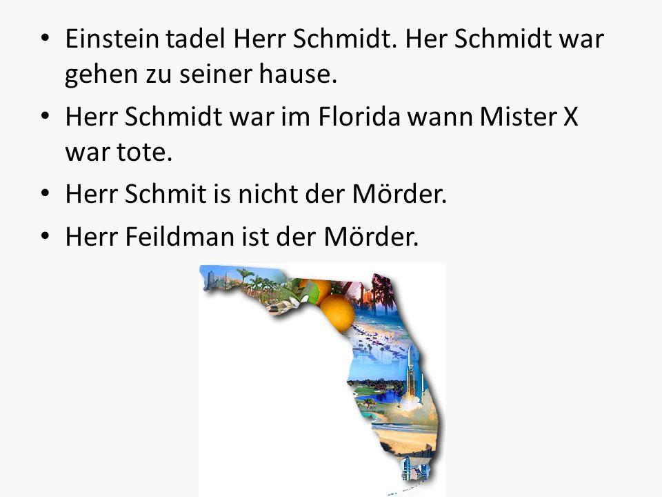 Einstein tadel Herr Schmidt. Her Schmidt war gehen zu seiner hause. Herr Schmidt war im Florida wann Mister X war tote. Herr Schmit is nicht der Mörde