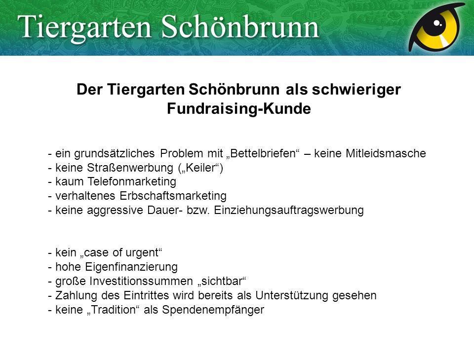 Der Tiergarten Schönbrunn als schwieriger Fundraising-Kunde - ein grundsätzliches Problem mit Bettelbriefen – keine Mitleidsmasche - keine Straßenwerbung (Keiler) - kaum Telefonmarketing - verhaltenes Erbschaftsmarketing - keine aggressive Dauer- bzw.