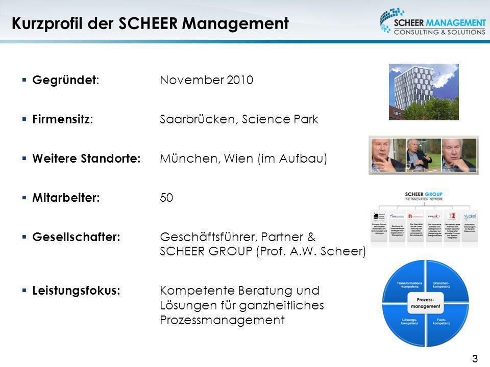 Kurzprofil der SCHEER Management Gegründet :November 2010 Firmensitz : Saarbrücken, Science Park Weitere Standorte: München, Wien (im Aufbau) Mitarbei