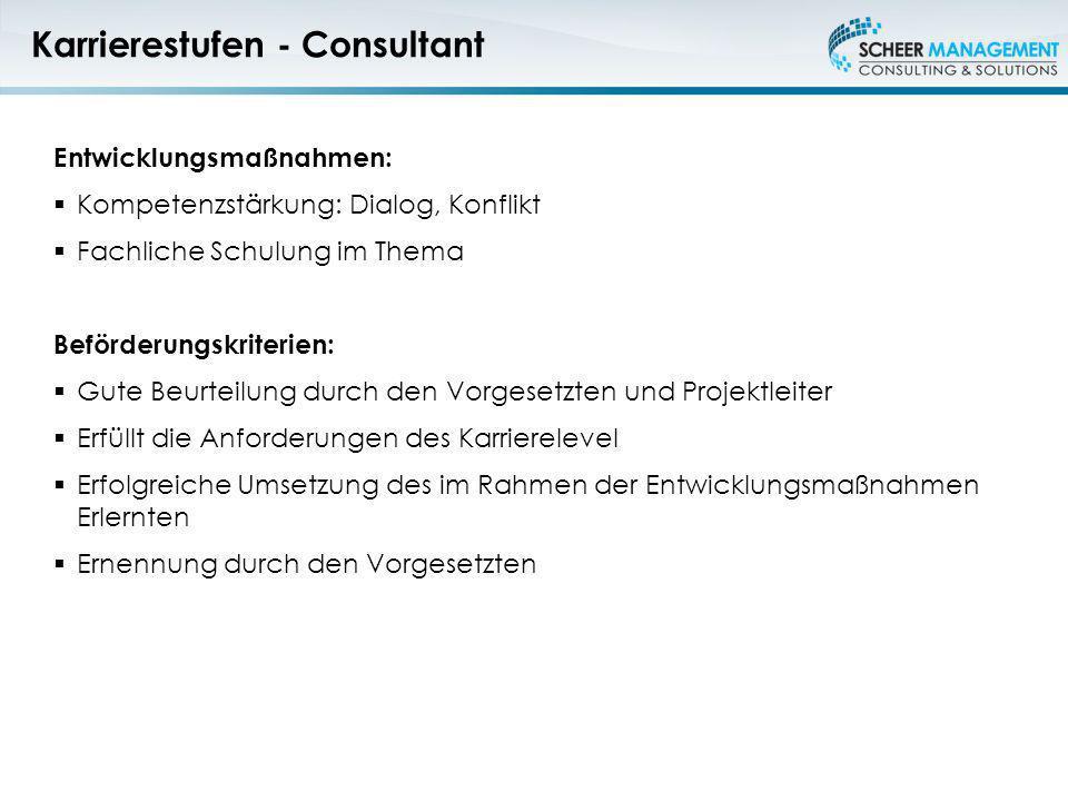 Karrierestufen - Consultant Entwicklungsmaßnahmen: Kompetenzstärkung: Dialog, Konflikt Fachliche Schulung im Thema Beförderungskriterien: Gute Beurtei