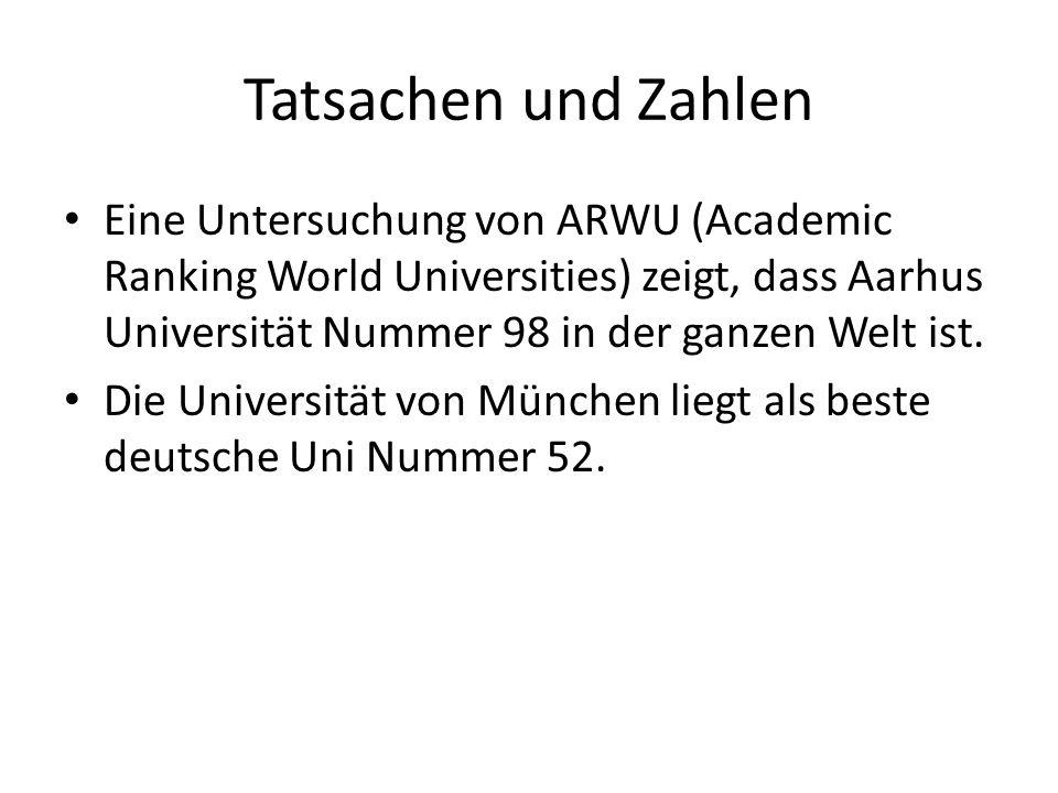 Tatsachen und Zahlen Eine Untersuchung von ARWU (Academic Ranking World Universities) zeigt, dass Aarhus Universität Nummer 98 in der ganzen Welt ist.