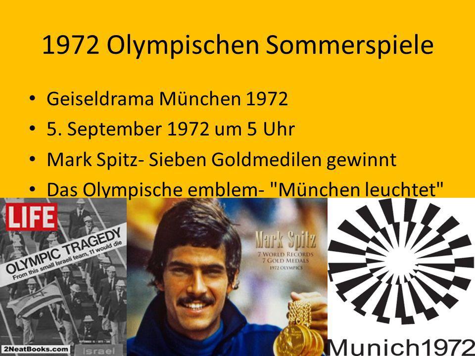 1972 Olympischen Sommerspiele Geiseldrama München 1972 5. September 1972 um 5 Uhr Mark Spitz- Sieben Goldmedilen gewinnt Das Olympische emblem-