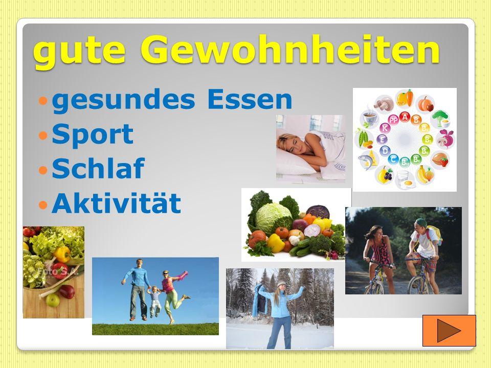 gute Gewohnheiten gesundes Essen Sport Schlaf Aktivität