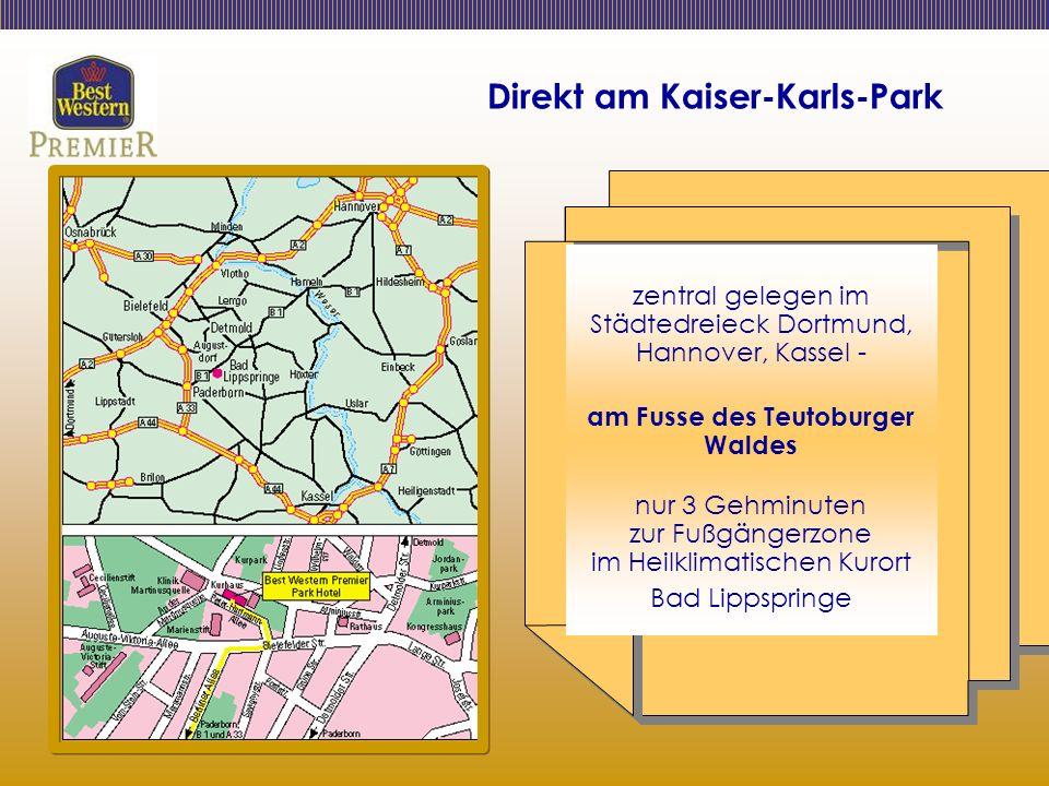 Direkt am Kaiser-Karls-Park zentral gelegen im Städtedreieck Dortmund, Hannover, Kassel - am Fusse des Teutoburger Waldes nur 3 Gehminuten zur Fußgängerzone im Heilklimatischen Kurort Bad Lippspringe