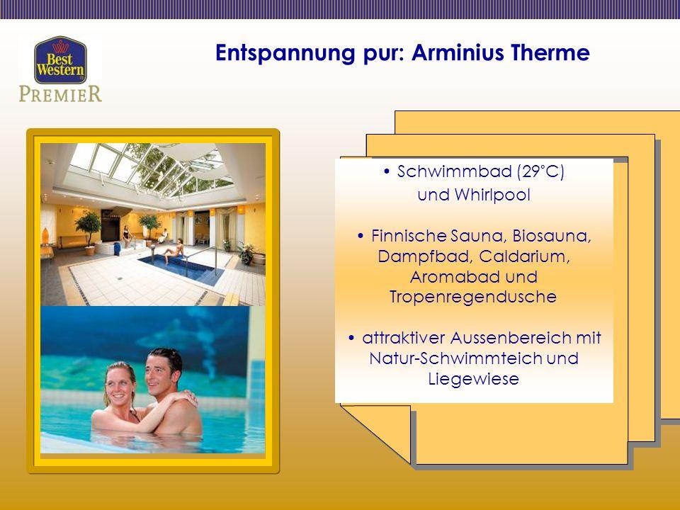 Entspannung pur: Arminius Therme Schwimmbad (29°C) und Whirlpool Finnische Sauna, Biosauna, Dampfbad, Caldarium, Aromabad und Tropenregendusche attraktiver Aussenbereich mit Natur-Schwimmteich und Liegewiese
