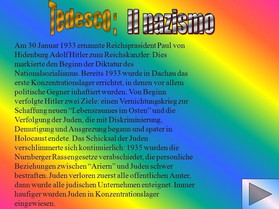 Am 30 Januar 1933 ernannte Reichsprasident Paul von Hidenburg Adolf Hitler zum Reichskanzler: Dies markierte den Beginn der Diktatur des Nationalsozia