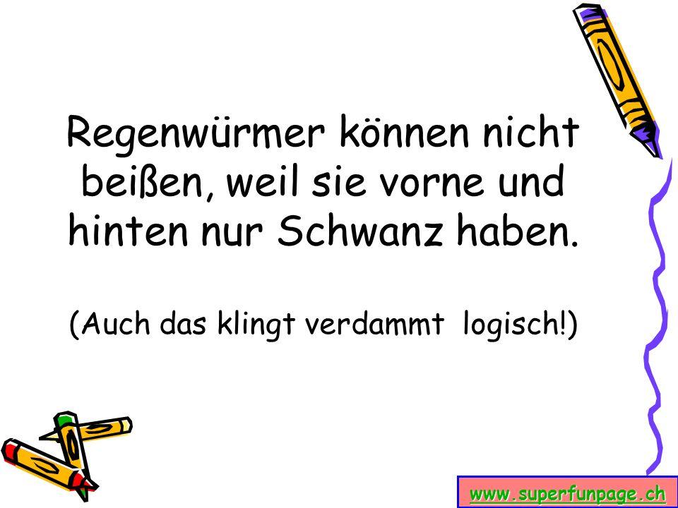 www.superfunpage.ch Regenwürmer können nicht beißen, weil sie vorne und hinten nur Schwanz haben. (Auch das klingt verdammt logisch!)