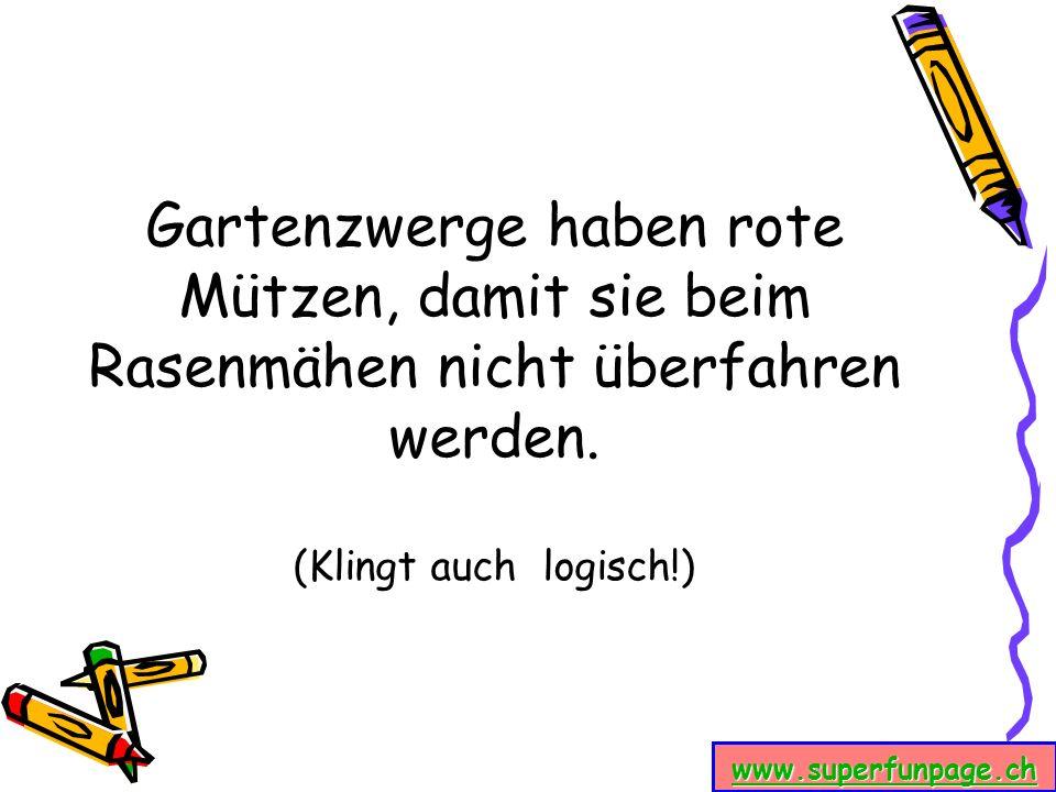 www.superfunpage.ch Gartenzwerge haben rote Mützen, damit sie beim Rasenmähen nicht überfahren werden. (Klingt auch logisch!)