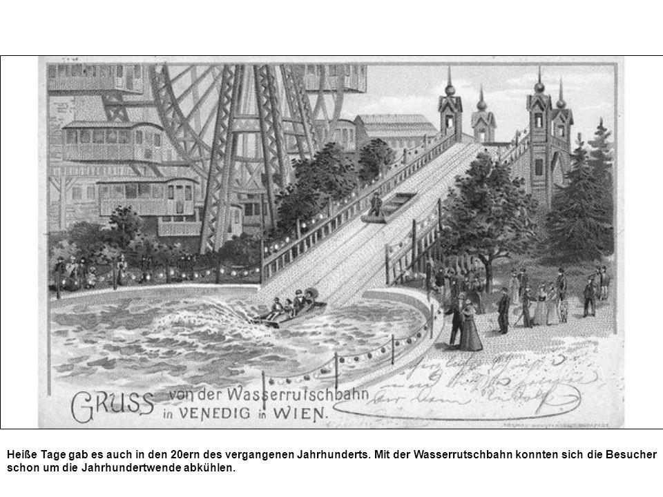 Heiße Tage gab es auch in den 20ern des vergangenen Jahrhunderts. Mit der Wasserrutschbahn konnten sich die Besucher schon um die Jahrhundertwende abk