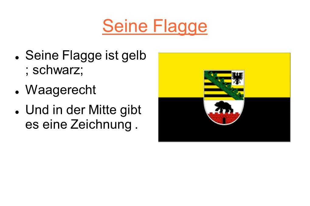 Seine Flagge Seine Flagge ist gelb ; schwarz; Waagerecht Und in der Mitte gibt es eine Zeichnung.