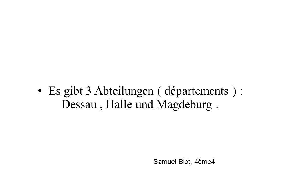 Es gibt 3 Abteilungen ( départements ) : Dessau, Halle und Magdeburg. Samuel Blot, 4ème4
