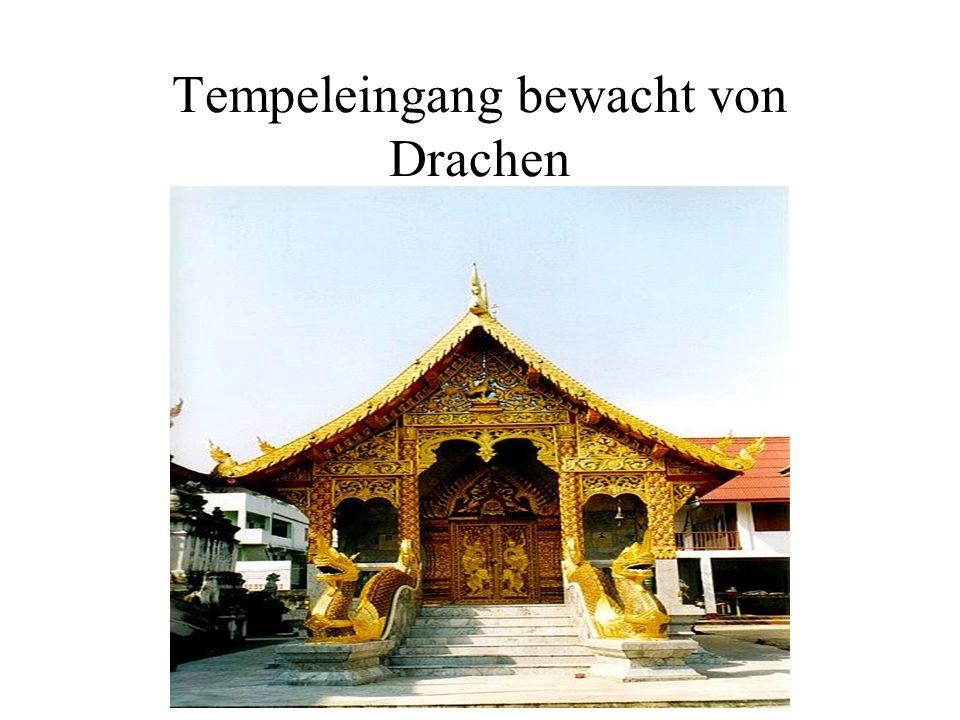 Tempeleingang bewacht von Drachen