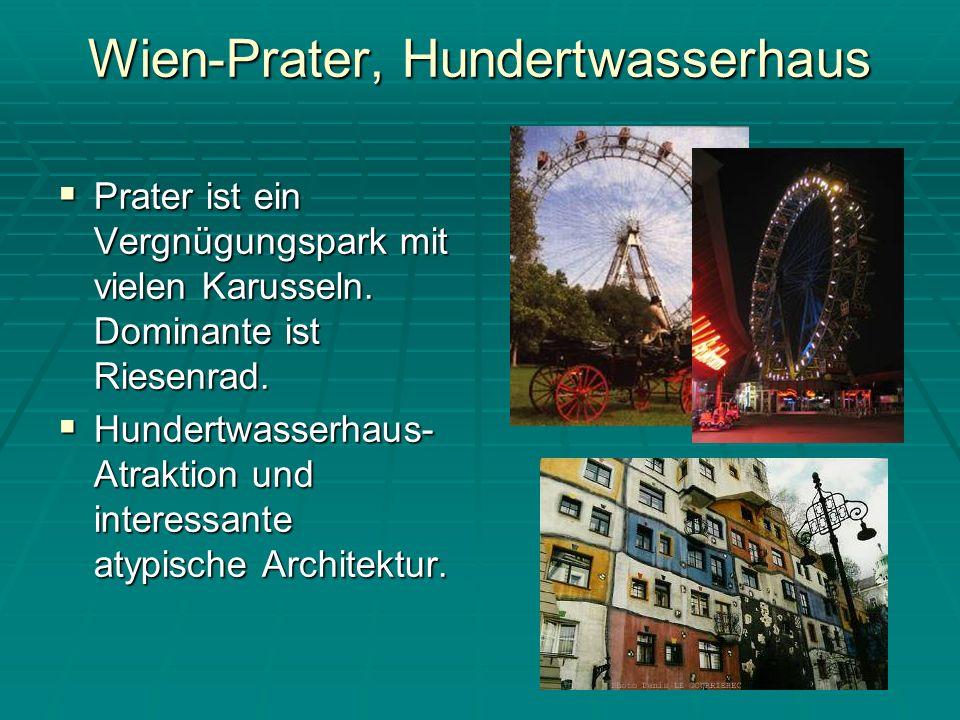 Wien-Prater, Hundertwasserhaus Prater ist ein Vergnügungspark mit vielen Karusseln.