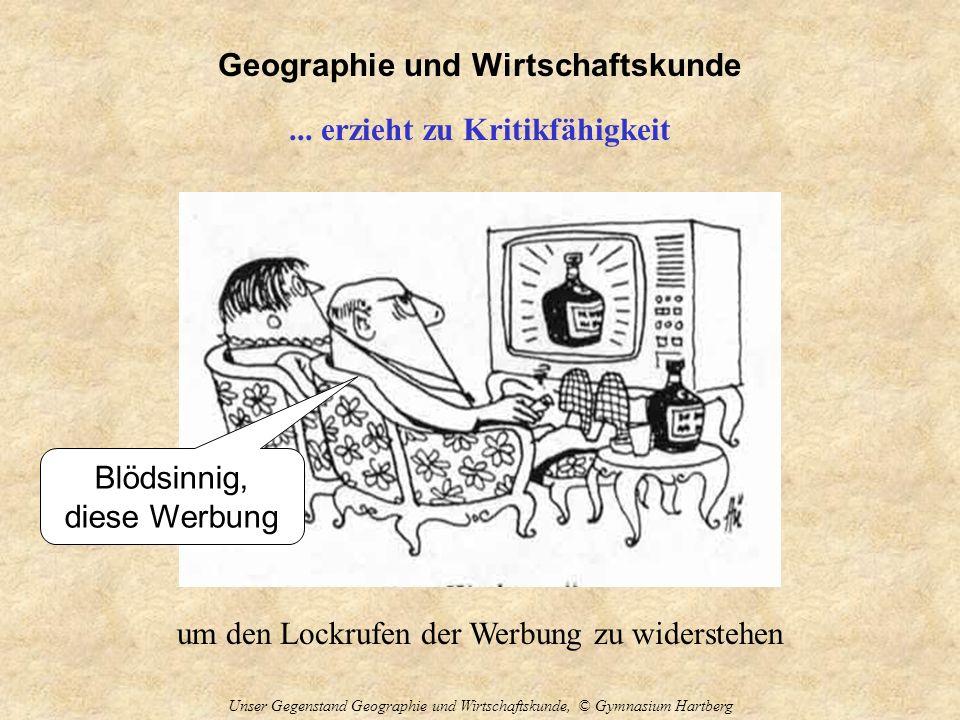 Geographie und Wirtschaftskunde Unser Gegenstand Geographie und Wirtschaftskunde, © Gymnasium Hartberg... erzieht zu Kritikfähigkeit um den Lockrufen