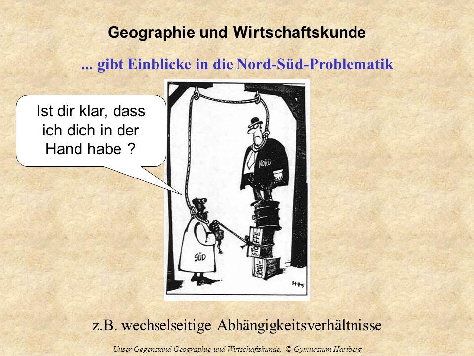 Geographie und Wirtschaftskunde Unser Gegenstand Geographie und Wirtschaftskunde, © Gymnasium Hartberg... gibt Einblicke in die Nord-Süd-Problematik z