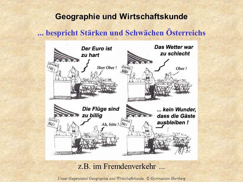 Geographie und Wirtschaftskunde Unser Gegenstand Geographie und Wirtschaftskunde, © Gymnasium Hartberg... bespricht Stärken und Schwächen Österreichs