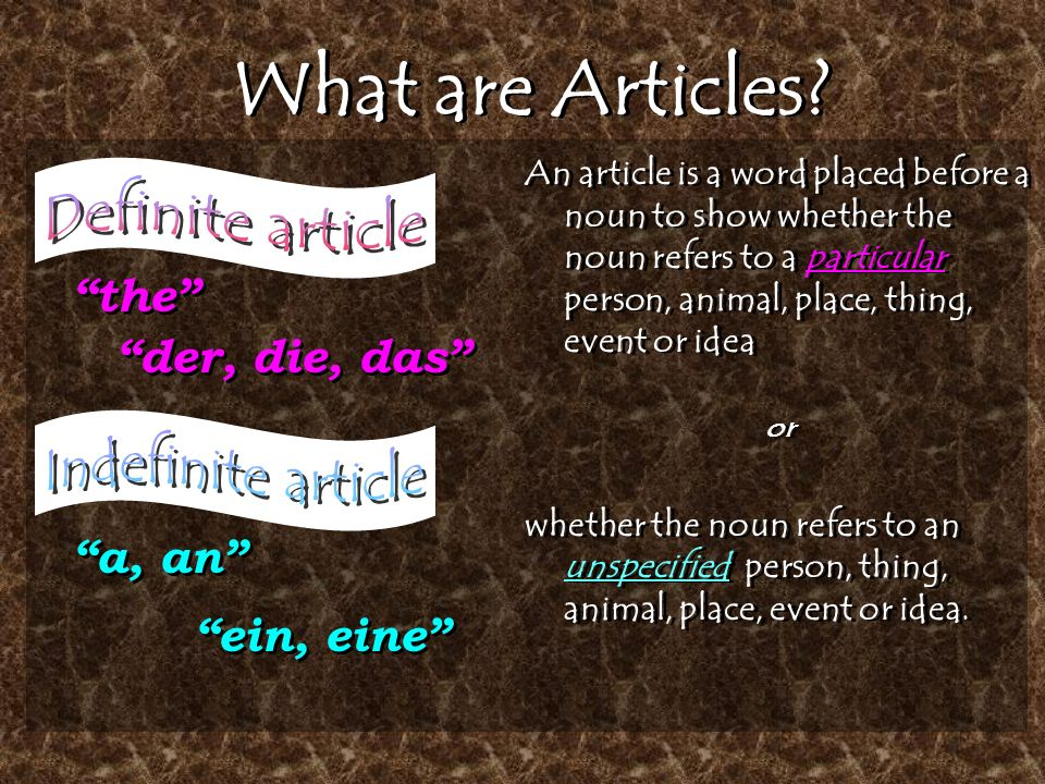 What are Articles.