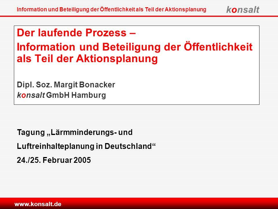 konsalt Information und Beteiligung der Öffentlichkeit als Teil der Aktionsplanung www.konsalt.de Der laufende Prozess – Information und Beteiligung d