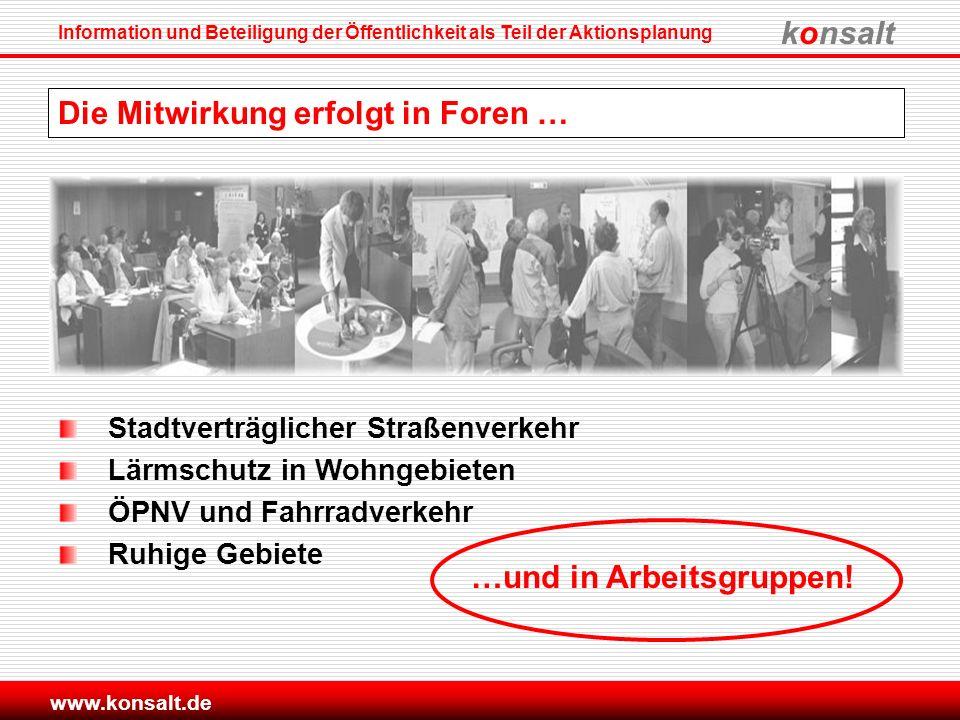konsalt Information und Beteiligung der Öffentlichkeit als Teil der Aktionsplanung www.konsalt.de Die Mitwirkung erfolgt in Foren … Stadtverträglicher