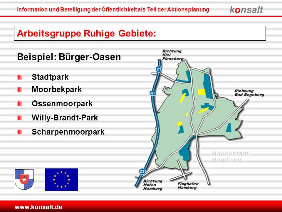 konsalt Information und Beteiligung der Öffentlichkeit als Teil der Aktionsplanung www.konsalt.de Beispiel: Bürger-Oasen Stadtpark Moorbekpark Ossenmo