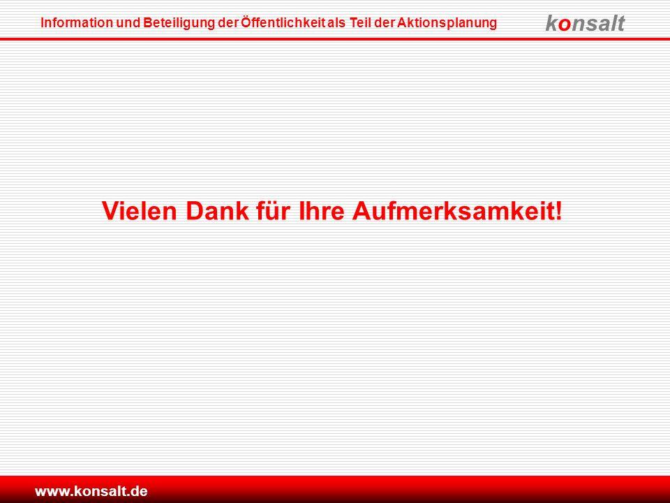 konsalt Information und Beteiligung der Öffentlichkeit als Teil der Aktionsplanung www.konsalt.de Vielen Dank für Ihre Aufmerksamkeit!