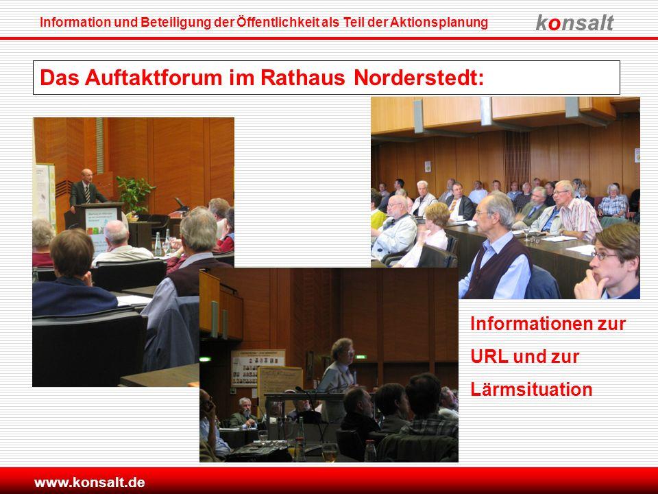 konsalt Information und Beteiligung der Öffentlichkeit als Teil der Aktionsplanung www.konsalt.de Das Auftaktforum im Rathaus Norderstedt: Information