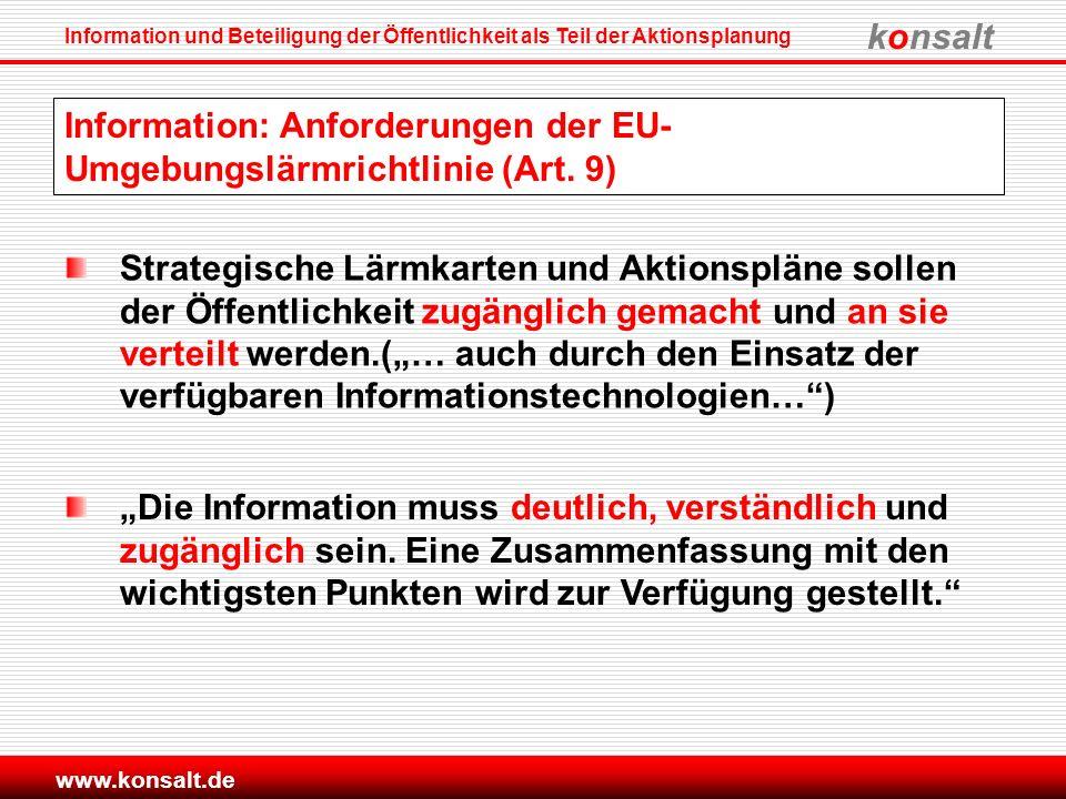 konsalt Information und Beteiligung der Öffentlichkeit als Teil der Aktionsplanung www.konsalt.de Information: Anforderungen der EU- Umgebungslärmrich