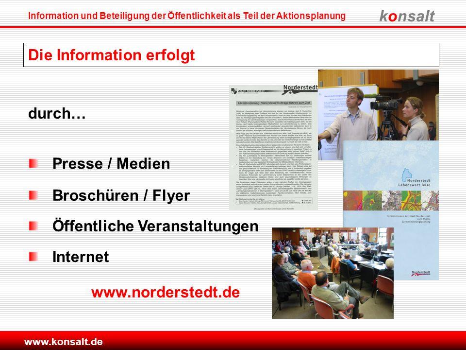 konsalt Information und Beteiligung der Öffentlichkeit als Teil der Aktionsplanung www.konsalt.de Die Information erfolgt durch… Internet www.norderst