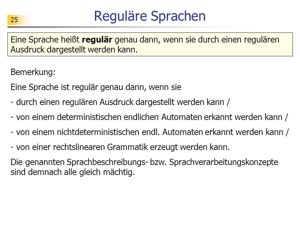 25 Reguläre Sprachen Eine Sprache heißt regulär genau dann, wenn sie durch einen regulären Ausdruck dargestellt werden kann. Bemerkung: Eine Sprache i