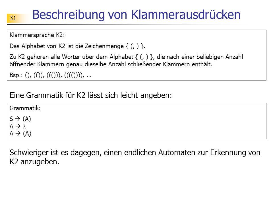 31 Beschreibung von Klammerausdrücken Eine Grammatik für K2 lässt sich leicht angeben: Klammersprache K2: Das Alphabet von K2 ist die Zeichenmenge { (