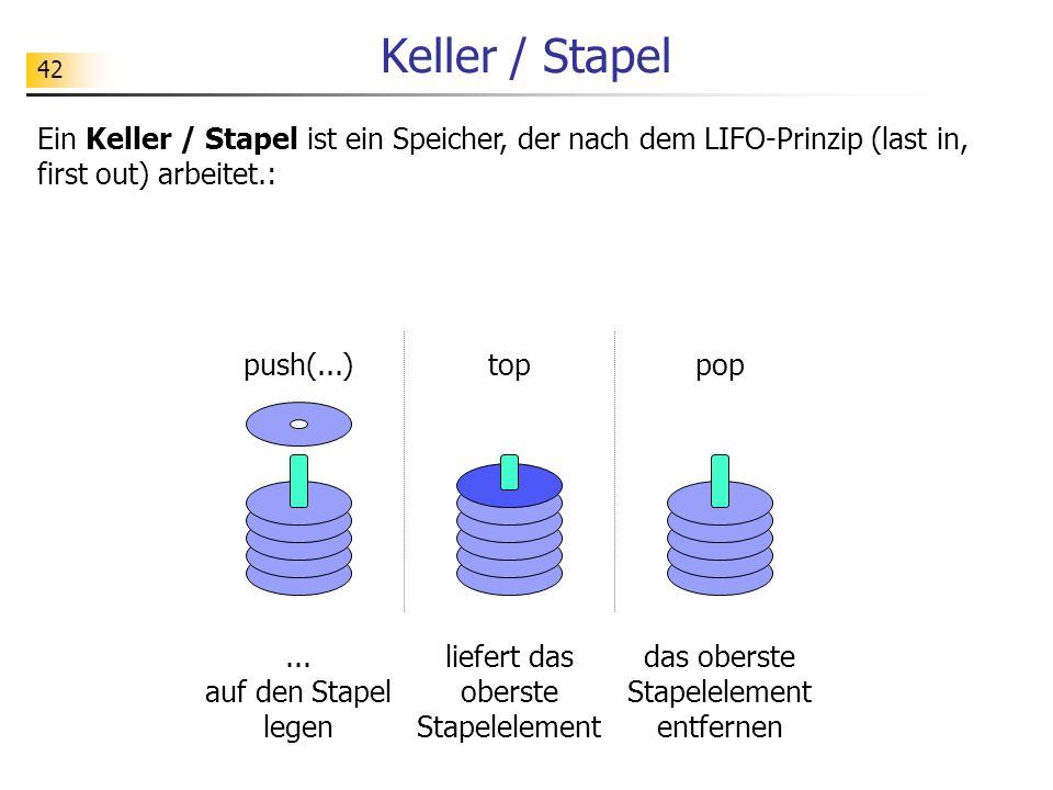 42 Keller / Stapel Ein Keller / Stapel ist ein Speicher, der nach dem LIFO-Prinzip (last in, first out) arbeitet.: push(...)toppop... auf den Stapel l