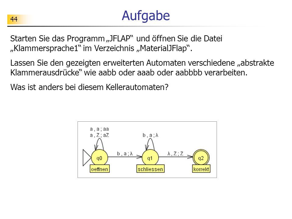44 Aufgabe Starten Sie das Programm JFLAP und öffnen Sie die Datei Klammersprache1 im Verzeichnis MaterialJFlap. Lassen Sie den gezeigten erweiterten