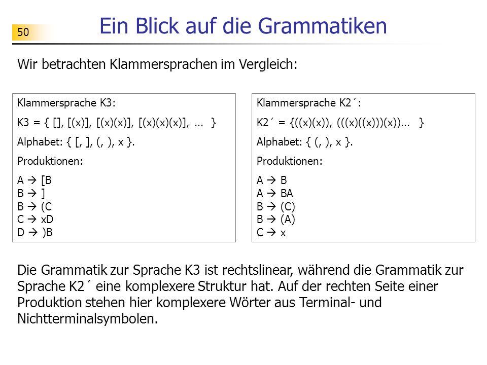 50 Ein Blick auf die Grammatiken Wir betrachten Klammersprachen im Vergleich: Klammersprache K3: K3 = { [], [(x)], [(x)(x)], [(x)(x)(x)],... } Alphabe