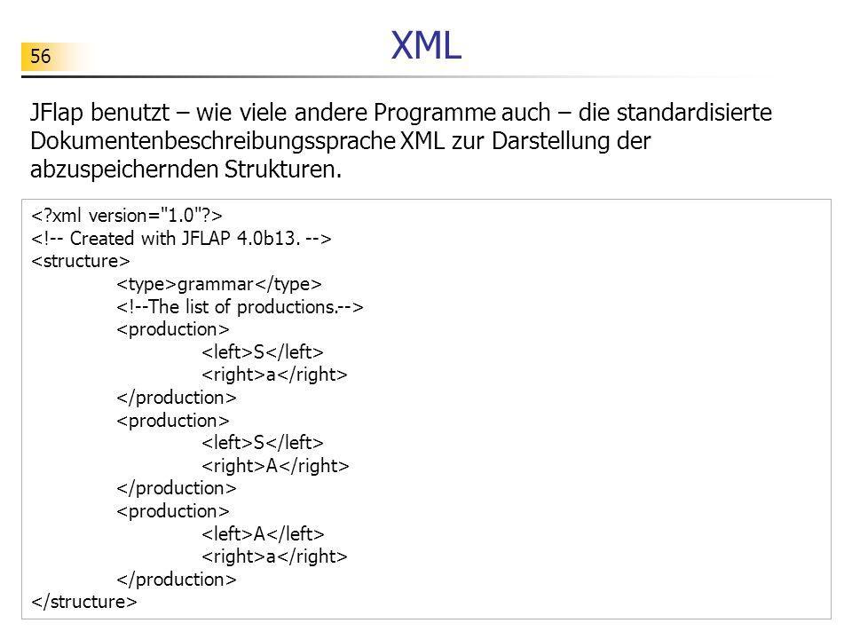 56 XML JFlap benutzt – wie viele andere Programme auch – die standardisierte Dokumentenbeschreibungssprache XML zur Darstellung der abzuspeichernden S
