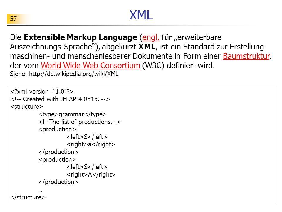 57 XML Die Extensible Markup Language (engl. für erweiterbare Auszeichnungs-Sprache), abgekürzt XML, ist ein Standard zur Erstellung maschinen- und me