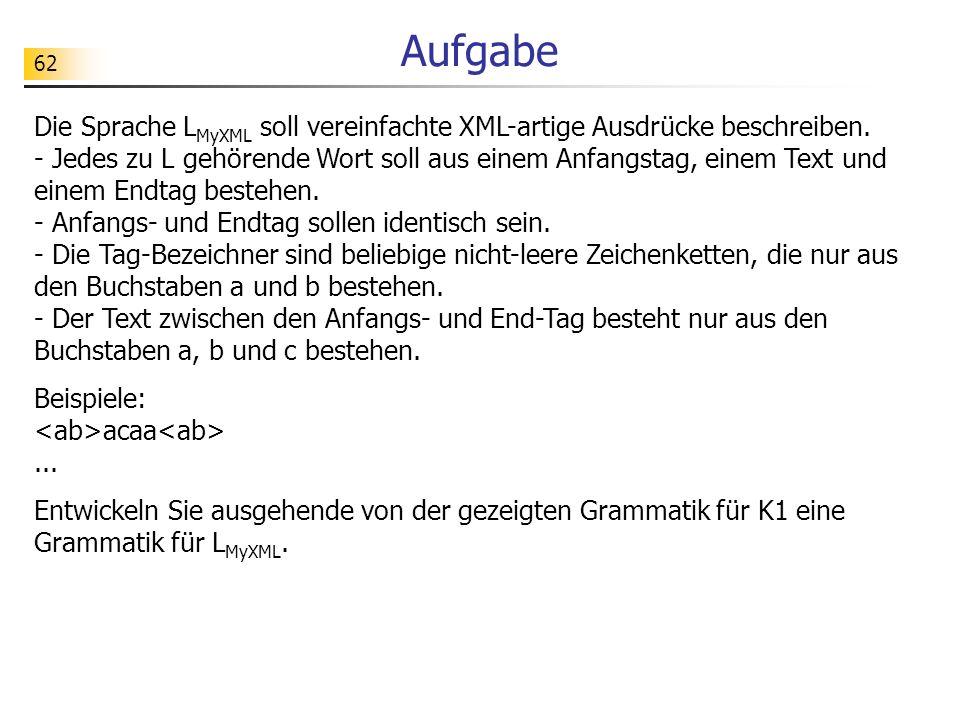 62 Aufgabe Die Sprache L MyXML soll vereinfachte XML-artige Ausdrücke beschreiben. - Jedes zu L gehörende Wort soll aus einem Anfangstag, einem Text u