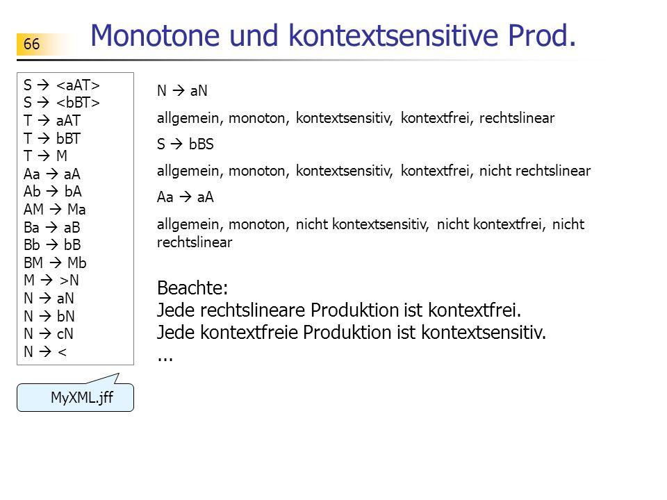 66 Monotone und kontextsensitive Prod. N aN allgemein, monoton, kontextsensitiv, kontextfrei, rechtslinear S bBS allgemein, monoton, kontextsensitiv,