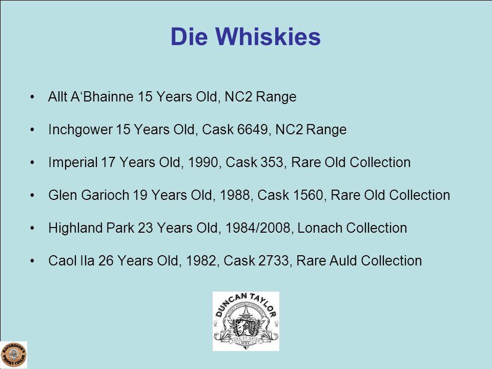 Die Whiskies Allt ABhainne 15 Years Old, NC2 Range Inchgower 15 Years Old, Cask 6649, NC2 Range Imperial 17 Years Old, 1990, Cask 353, Rare Old Collec