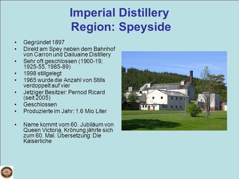 Imperial Distillery Region: Speyside Gegründet 1897 Direkt am Spey neben dem Bahnhof von Carron und Dailuaine Distillery Sehr oft geschlossen (1900-19