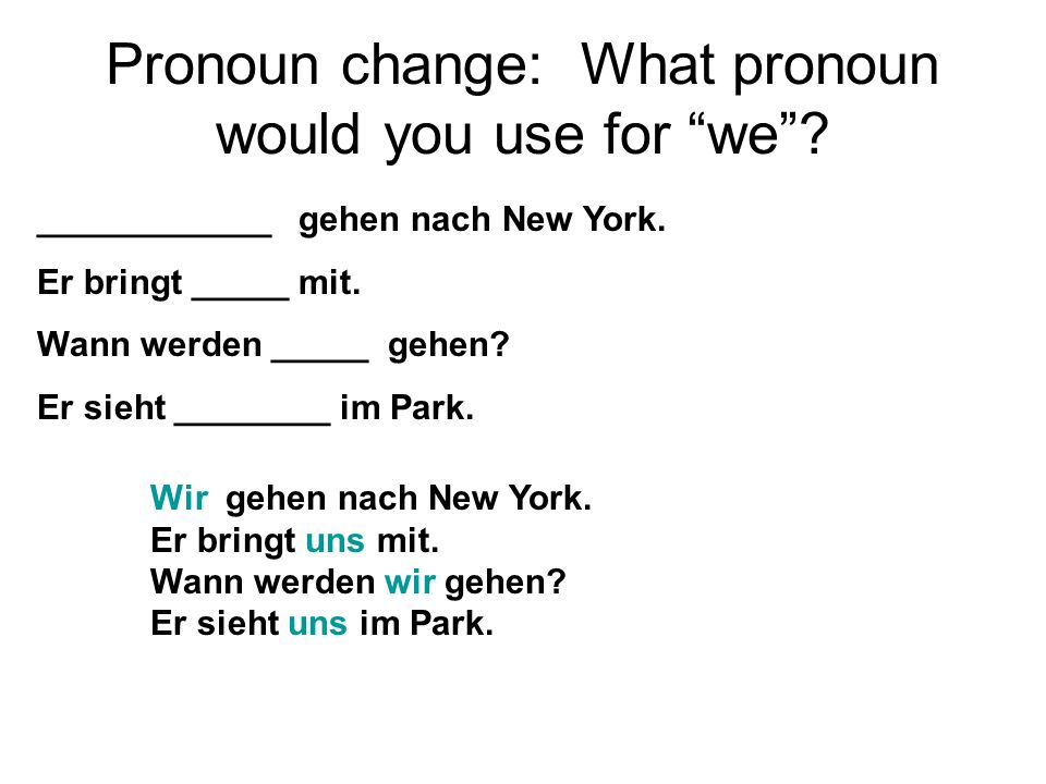 Pronoun change: What pronoun would you use for we.